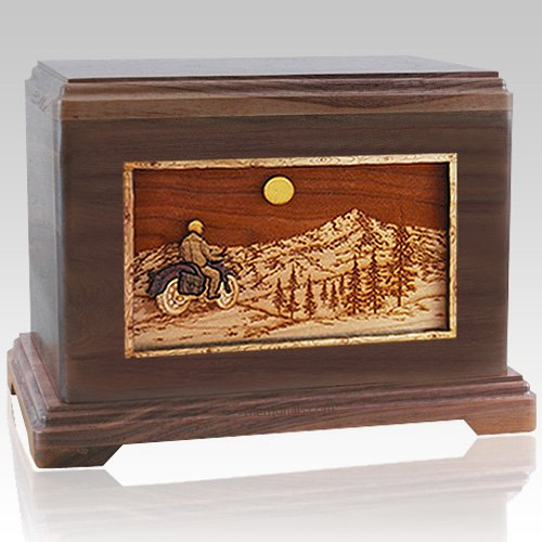 Last Motorcycle Ride Walnut Cremation Urn For Two