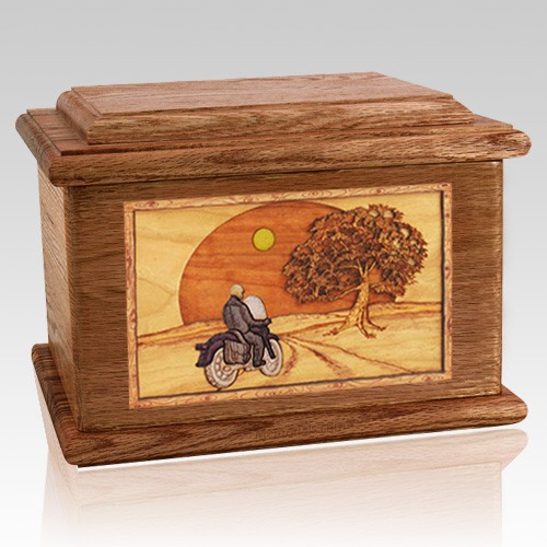 Motorcycle & Moon Walnut Memory Chest Cremation Urn