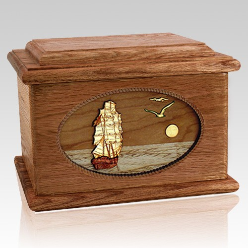 Sailing Home Walnut Memory Chest Cremation Urn