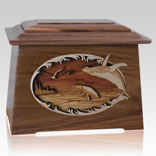 Whale & Calf Walnut Aristocrat Cremation Urn