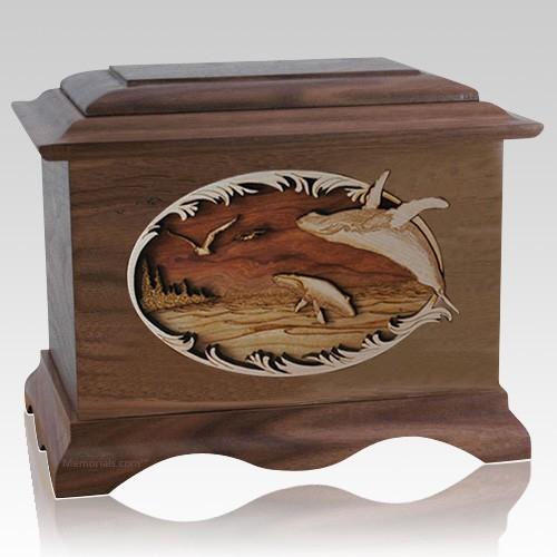 Whale & Calf Walnut Cremation Urn