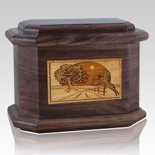 Pheasant Walnut Octagon Cremation Urn