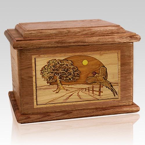 Pheasant Walnut Memory Chest Cremation Urn