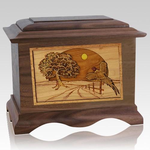 Pheasant Walnut Cremation Urn