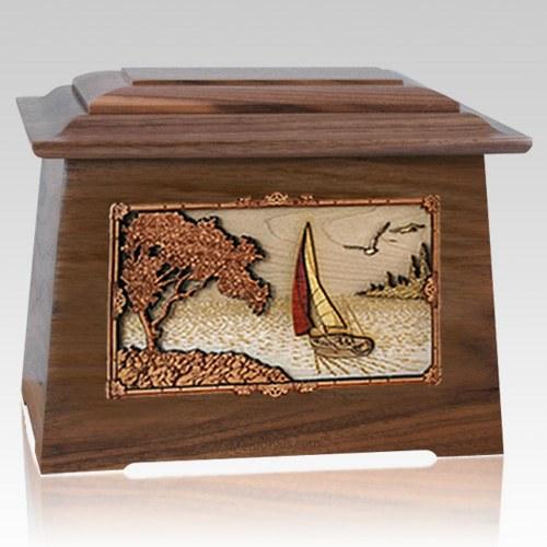 Sailboat Walnut Aristocrat Cremation Urn