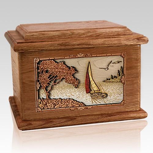 Sailboat Walnut Memory Chest Cremation Urn