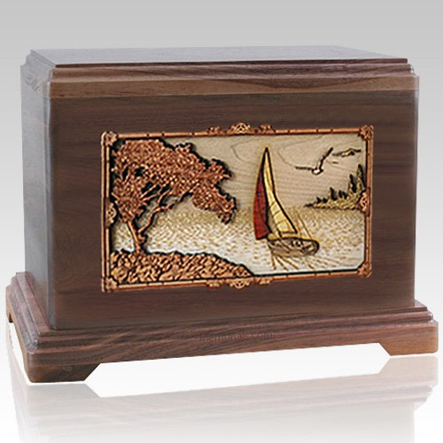 Sailing Walnut Cremation Urn For Two