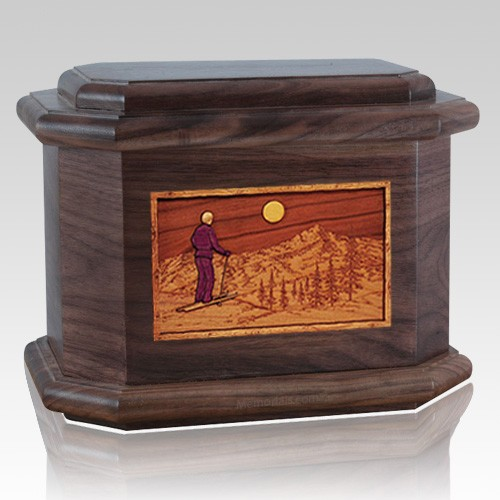Skiing Walnut Octagon Cremation Urn