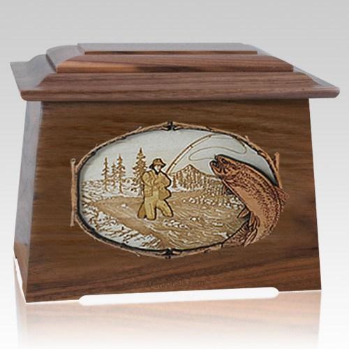 Fly Fishing Walnut Aristocrat Cremation Urn
