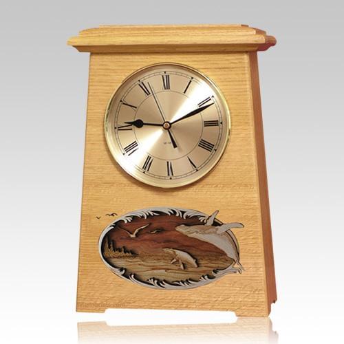 Whale and Calf Astoria Clock Oak Cremation Urn