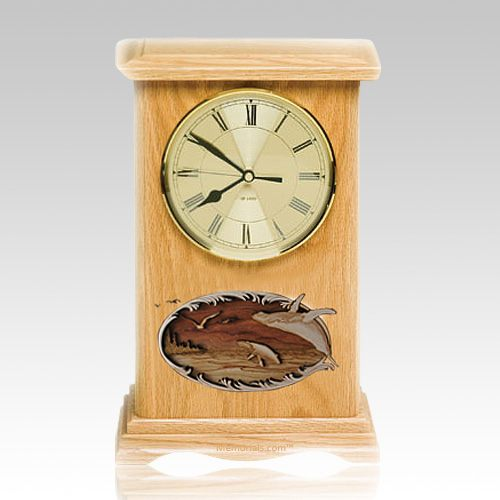 Wahle and Calf Clock Oak Cremation Urn