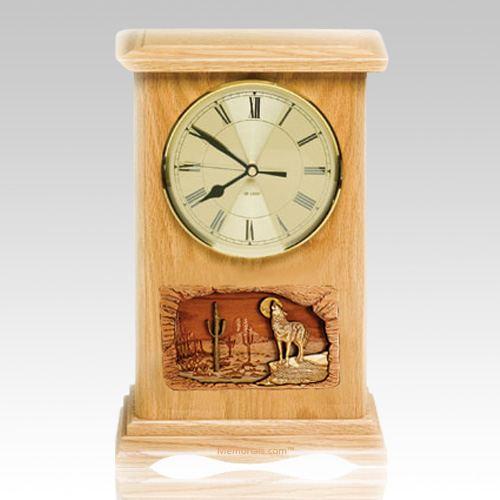 Wolf Clock Oak Cremation Urn