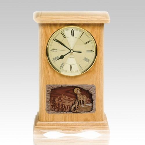 Wolfs Clock Oak Cremation Urn