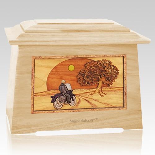 Motorcycle & Moon Maple Aristocrat Cremation Urn