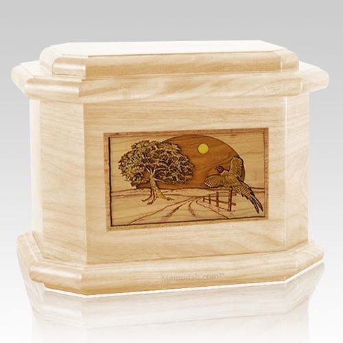 Pheasant Maple Octagon Cremation Urn