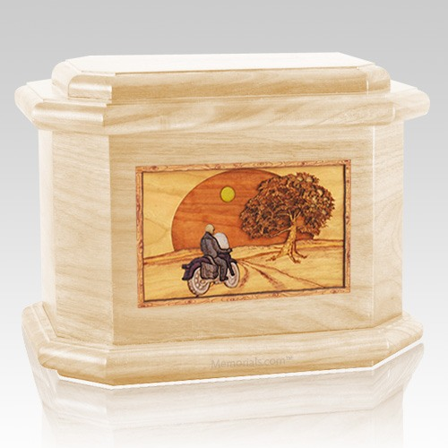 Motorcycle & Moon Maple Octagon Cremation Urn