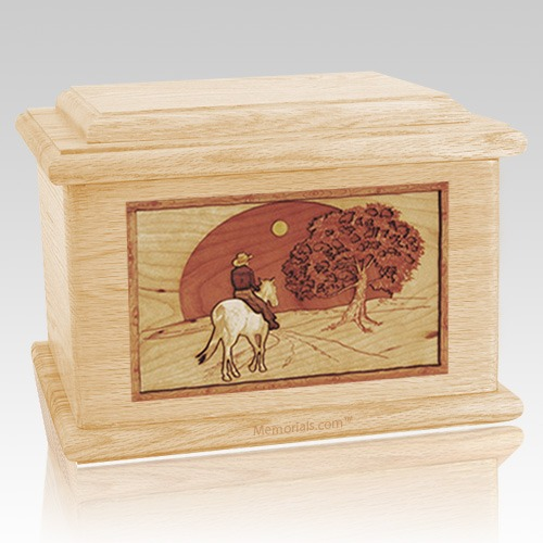 Horse & Moon Maple Memory Chest Cremation Urn