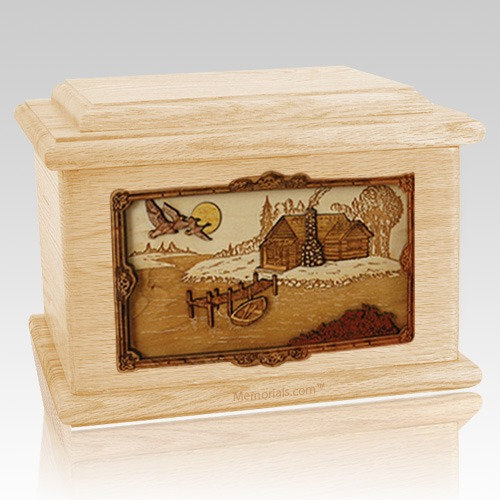 Rustic Paradise Maple Memory Chest Cremation Urn