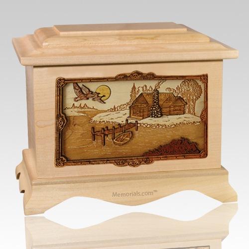 Rustic Paradise Maple Cremation Urn
