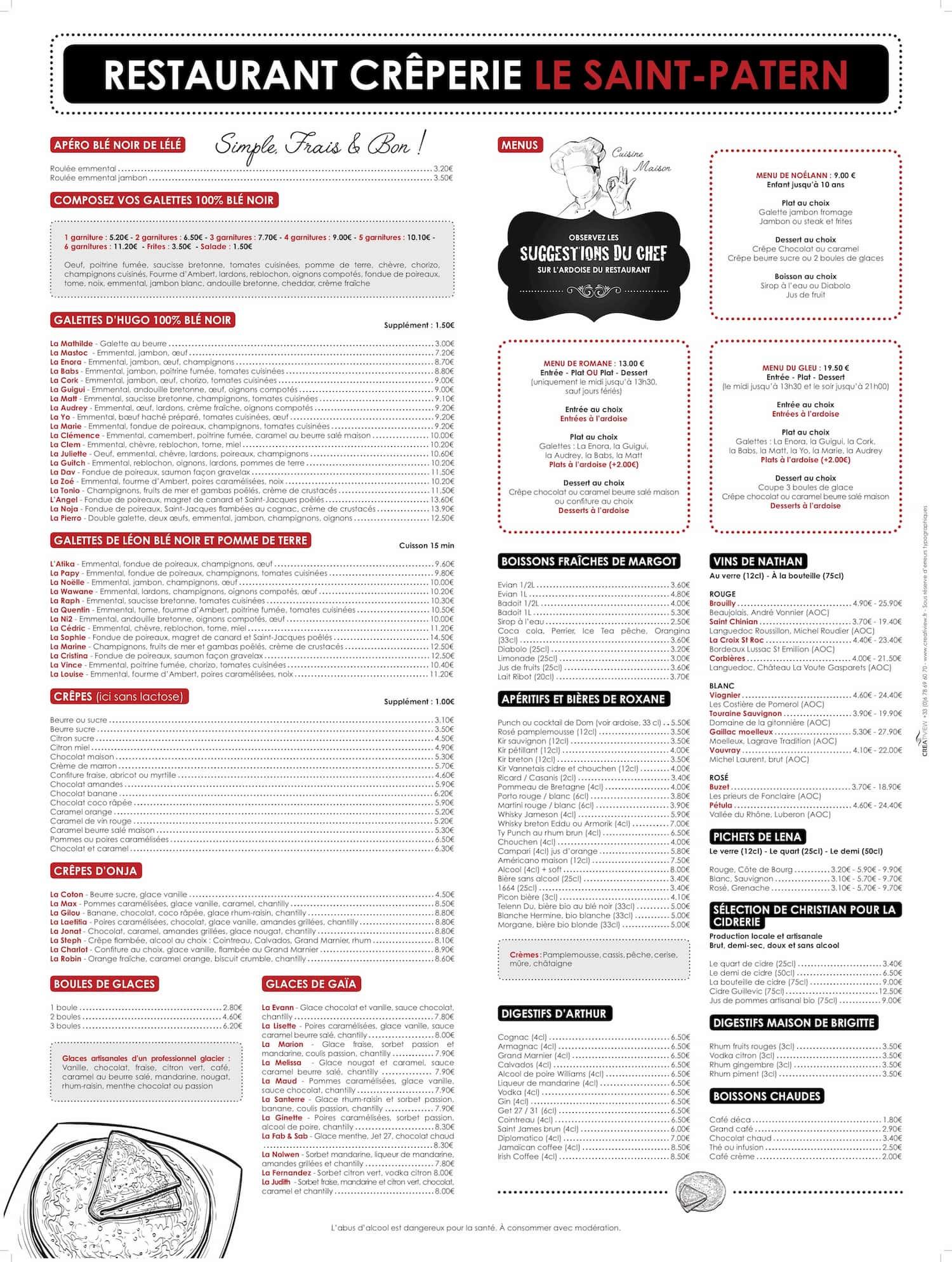 Carte de la creperie restaurant Saint Patern a Vannes