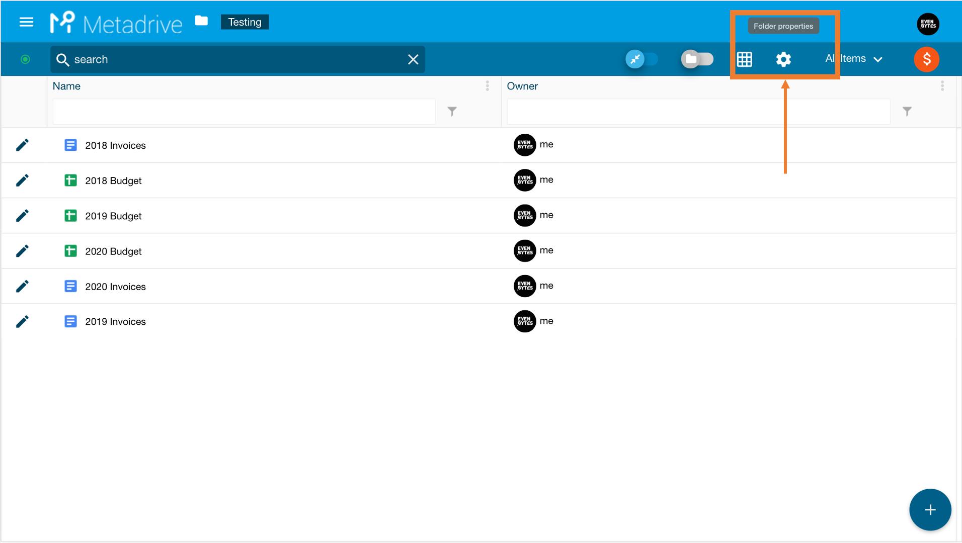 open folder properties in metadrive