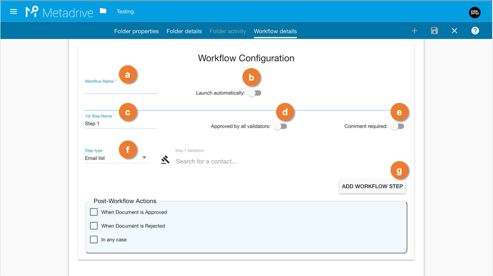 workflow configuration in metadrive