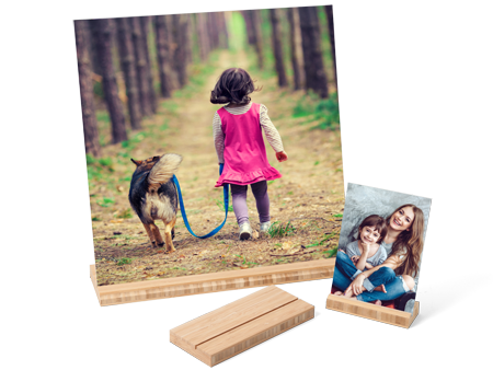 Metal Print with Bamboo Wood Stand for Tabletop Display
