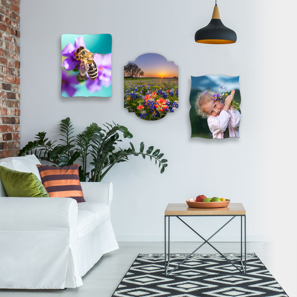 Creative Edge uniquely shaped Metal Prints on wall layout.