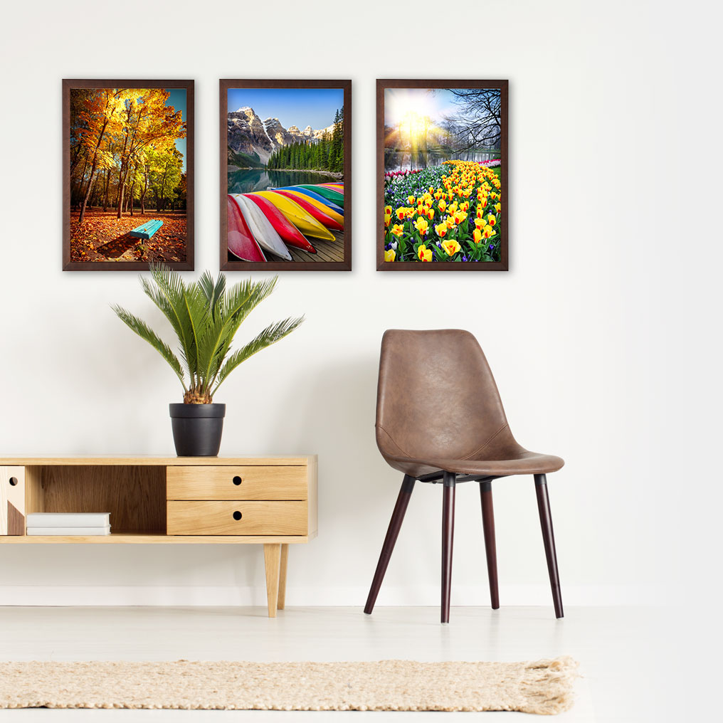 Wood Framed Metal Prints on Wall