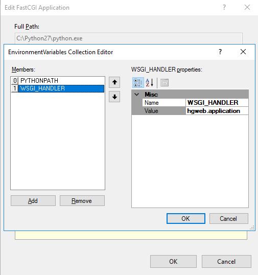 WSGI_HANDLER Environment Setting