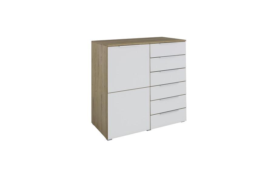 Kommode 20 up Kommodes Tijdloos Modern glas grijs + korpus houtstructuur maatwerk - Toonzaal Meubelen Larridon