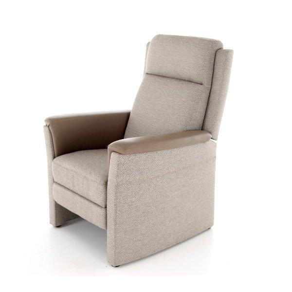 Relaxzetel met hoge rug en korte zitting, in stof met armleuning in leder