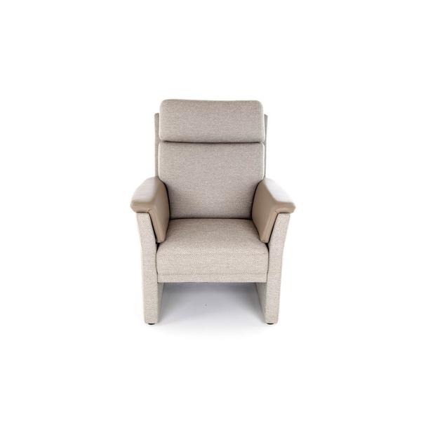 Zetel met korte zitting, in stof met armleuning in leder