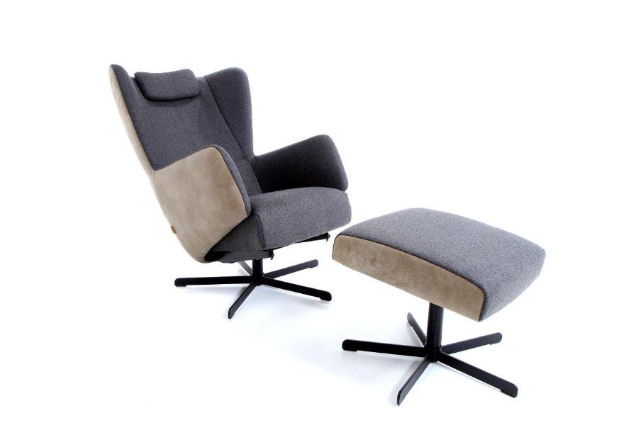 Relax Guido met gasveer + voetbank Relaxen Relaxen in stijl Strak Landelijk Industrieel Stof + leder Bruin maatwerk