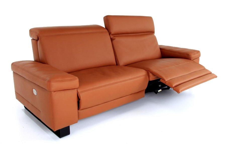 Salon Nora (3,5-zit breed incl 2 electrische relaxen) Salons Tijdloos Modern Relaxen in stijl Leder Cognac maatwerk