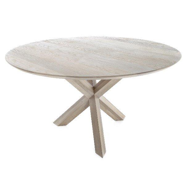 Ronde houten tafel met driepikkel poot in massieve eik