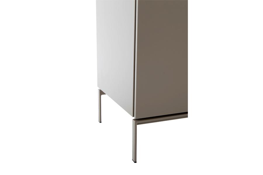 Dressoir Geneve Dressoirs Tijdloos Modern Italian Design lak mat + glas Taupe maatwerk - Toonzaal Meubelen Larridon