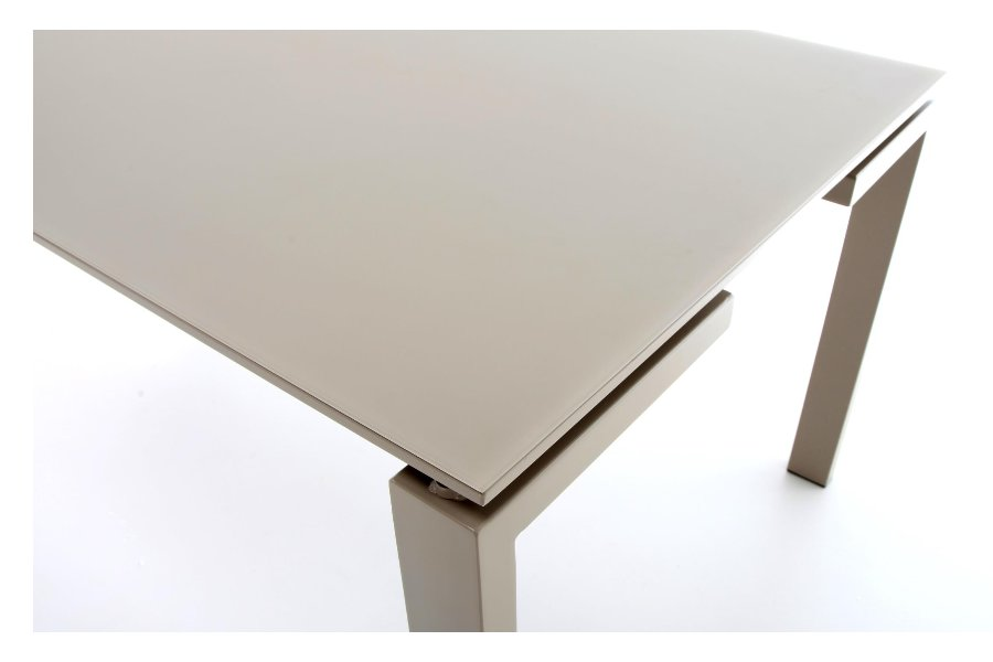 Tafel Geneve Tafels Tijdloos Modern Italian Design Satinato glas Taupe maatwerk