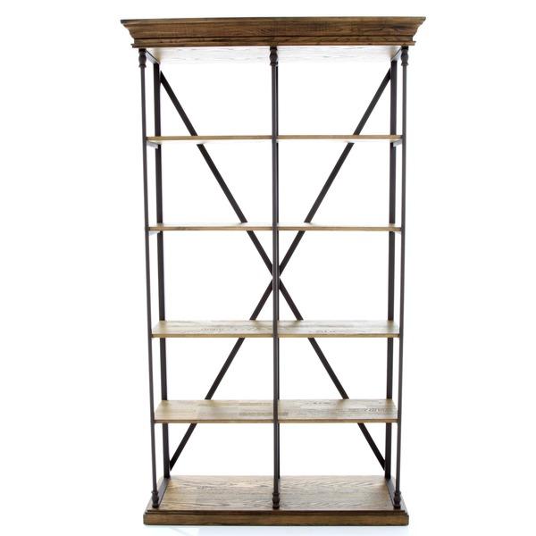 Open boekenrek in metaal en hout