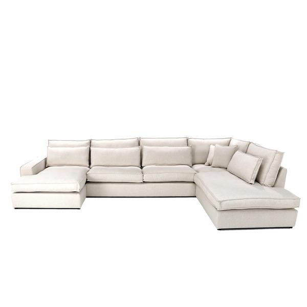 Hoeksalon in beige witte stof met losse kussens en longchair