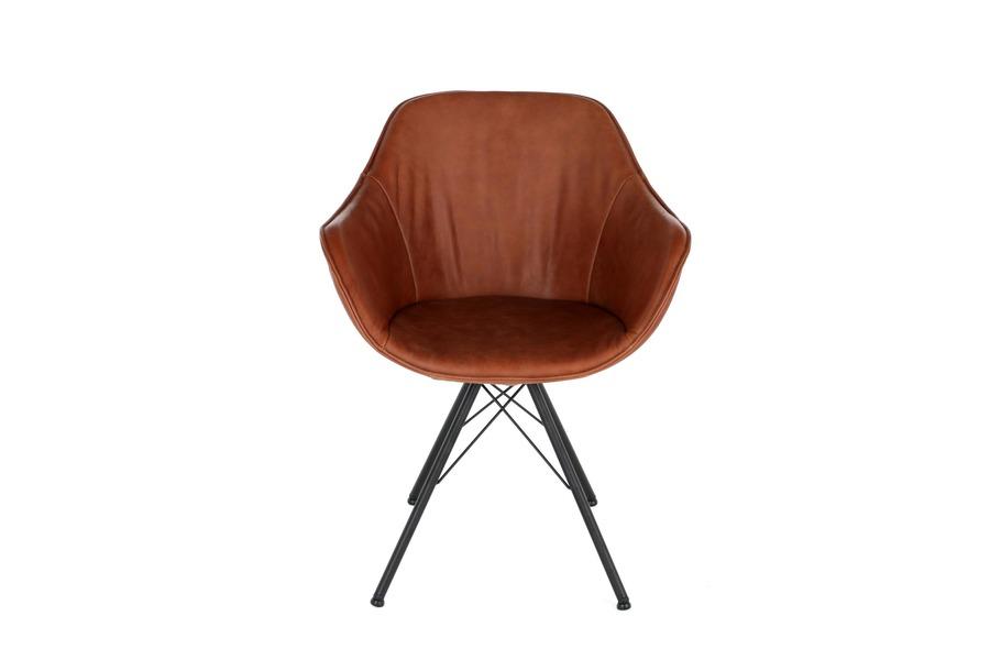 Armstoel Goofy Stoelen Industrieel Tijdloos Modern Italian Design Leder + metalen onderstel Cognac maatwerk - Toonzaal Meubelen Larridon