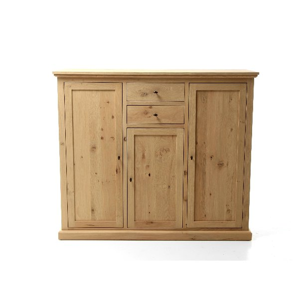 houten middelhoge kast in eik met lades en deuren