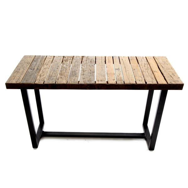 muurtafel op metalen onderstel met houten blad