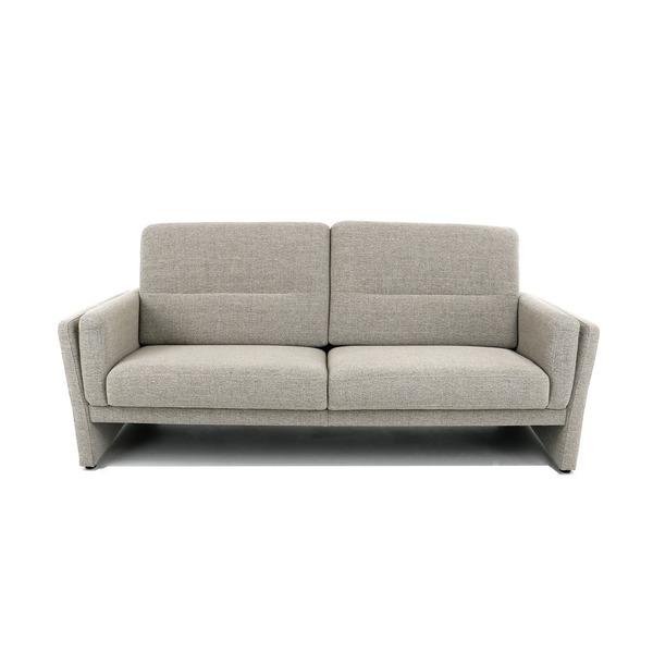 Compacte canapé in licht grijs-beige stof open onderaan met hoge rug