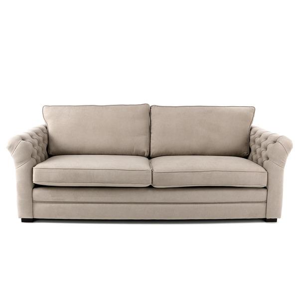 Zetel in stof met knopen in de armleuning