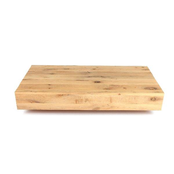 salontafel in blokvorm uit massieve eik met noesten