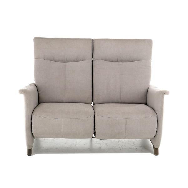 Compacte canapé met relaxen in lichtgrijze stof open onderaan met hoge rug