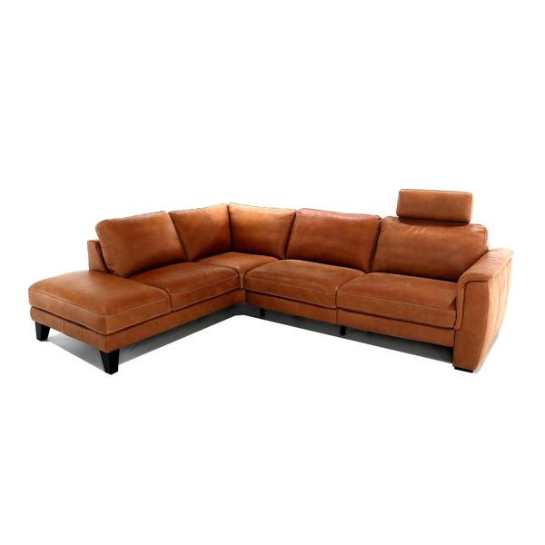 hoeksalon in warm cognac leder met elektrische relax
