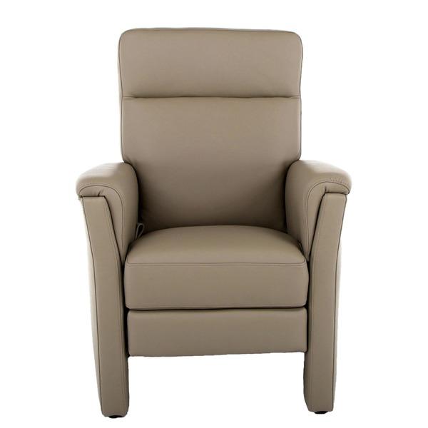 Relaxzetel in leder met hoge rug en smalle armen klassiek