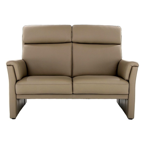 Zetel in leder met hoge rugleuning en smalle armleuning open onderaan